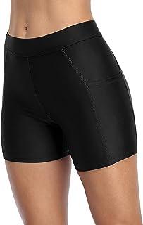 ATTRACO Women Swim Shorts with Pockets Solid Board Shorts Boy Shorts Swim Bottoms