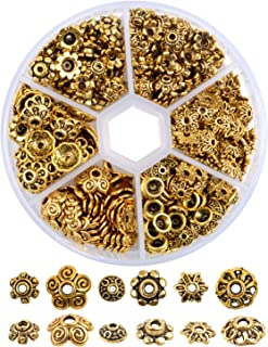 360 Pieces Antique Gold Flower Bead Caps Spacer Beads Alloy Beads Jewelry Accessories for Jewelry Making, 6 Styles
