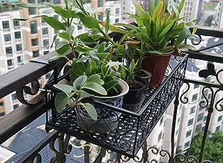 Balcony Flower Pot Stand Rack Railing Shelf, 2 Hooks Balcony Windows Flower Pot Holder