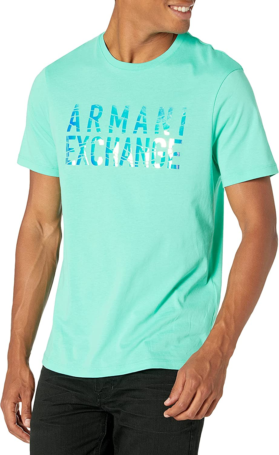 AX Armani Exchange Men's Iridescent T-Shirt Wave Logo Graphic New Limited price sales