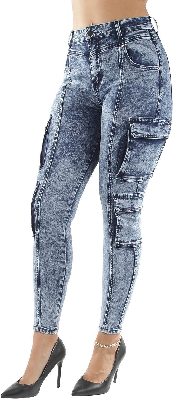 Women's Juniors/Plus Size High Waist Cargo Denim Joggers Pants (5143)