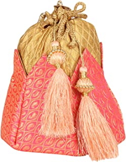 Indian Ethnic Designer Embroidered Silk Potli Bag Batwa Pearls Handle Purse
