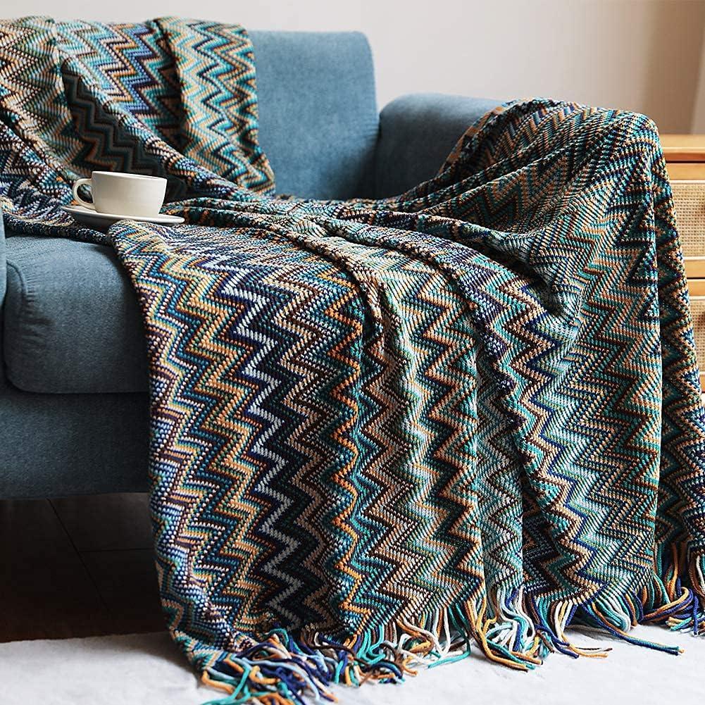Bohemian Throw Blankets Home Decor Max 72% OFF W Louisville-Jefferson County Mall Stripe Blanket Boho Woven