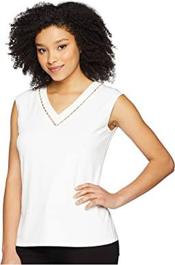 Sleeveless V-Neck w/ Pearl Detail