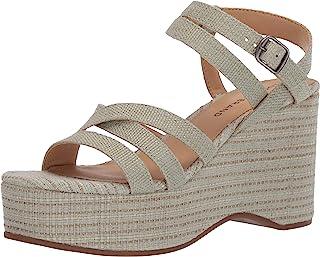 Lucky Brand Women's CARLISHA Wedge Sandal, Desert sage, 10