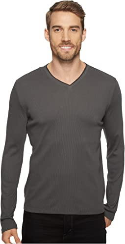 Calvin Klein - Long Sleeve Rib V-Neck T-Shirt