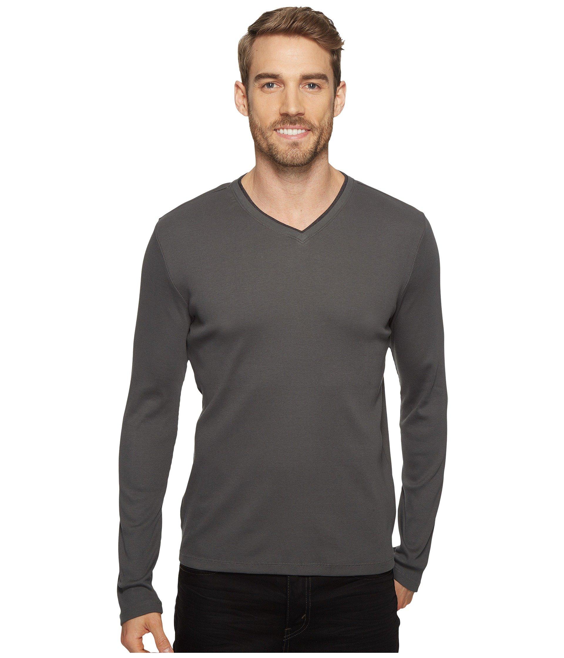 Long Sleeve T neck V Fatigue shirt Calvin Rib Klein 5BwPExXqF