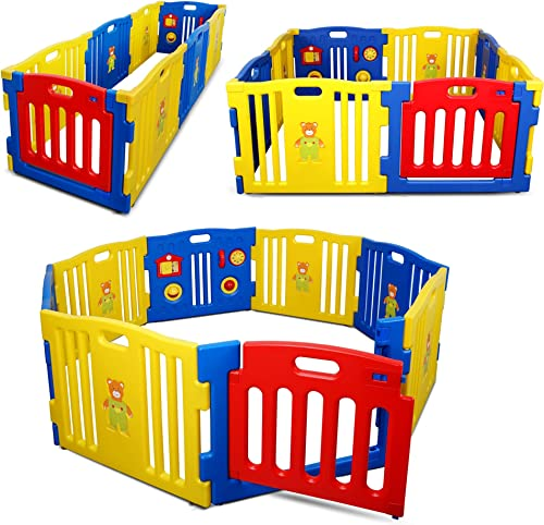wholesale Kidzone Interactive Baby Playpen 8 new arrival Panel Safety Gate Children Play Center Home Child Activity Pen ASTM Certified (Blue- lowest Yellow- Red) outlet online sale