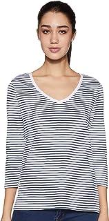 Amazon Brand - Symbol Women's Striped Regular Fit 3/4 Sleeves Cotton T-Shirt