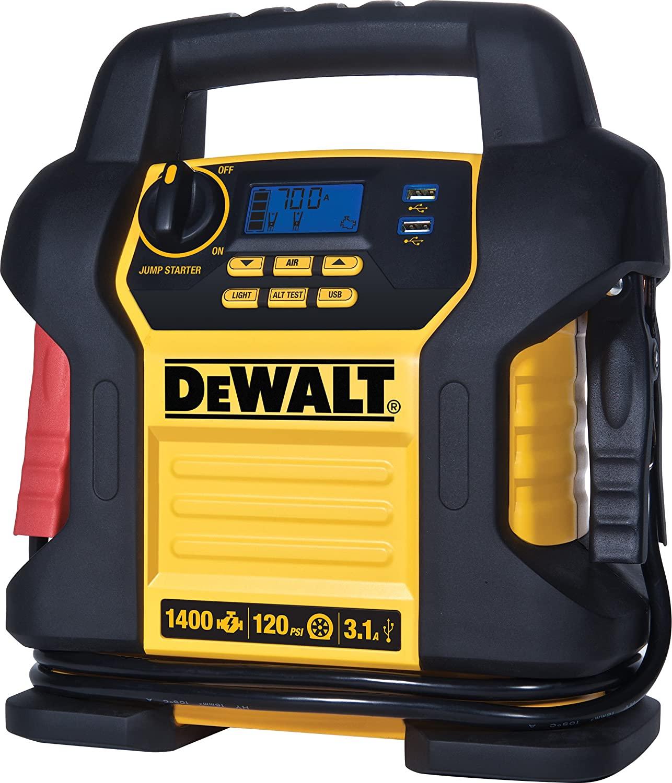 DEWALT DXAEJ14 Digital Portable Power Station Jump Starter: 1400 Peak/700 Instant Amps, 120 PSI Digital Air Compressor, 3.1A USB Ports, Battery Clamps