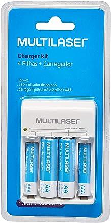 Carregador de Pilhas AA/AAA + 2 Pilhas AA 2500 mAh + 2 Pilhas AAA 1000 mAh - CB045, Multilaser