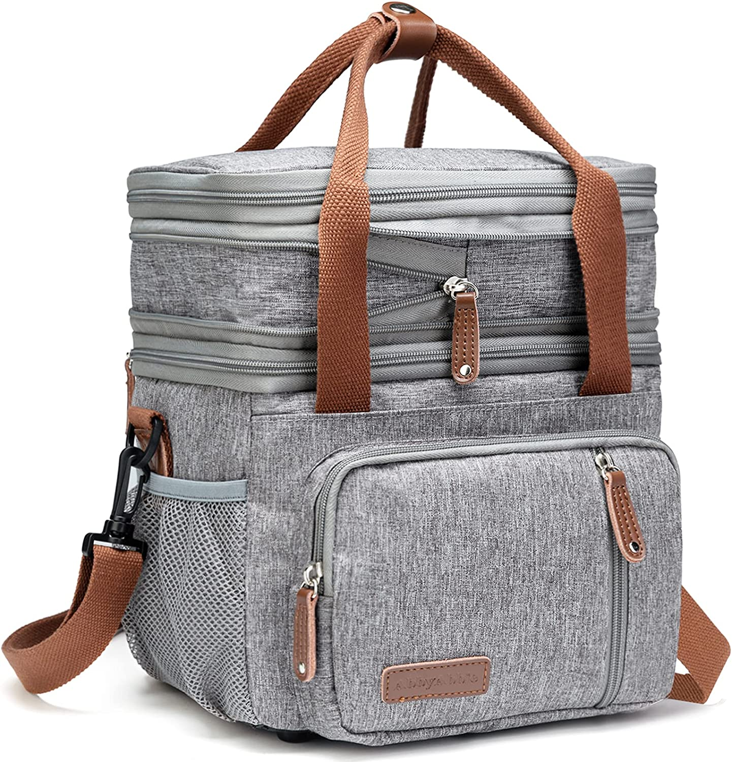 Expandable Insulated Cooler Lunch Bag,Large Lunch Bags for Women/Men -with Adjustable & Removable Shoulder Strap, Reusable lunch Box Container ,Leakproof Cooler Tote Bag for Work /Kids/School/ Picnic