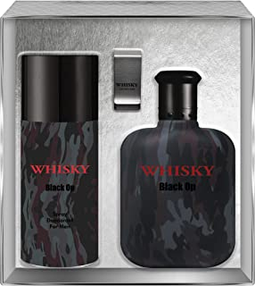 Evaflorparis Whisky Black Op Gift Box Eau de Toilette 100 Ml + Déodorant 150 Ml + Money Clip Set Men Perfume Natural Spray...