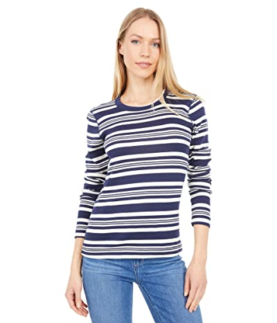 Three Dots Heritage Knit Long Sleeve Stripe Crew Neck