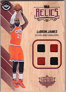 Lebron James 2016-17 Upper Deck Authenticated Supreme Hard Court NBA Relics Quad Jersey and 5