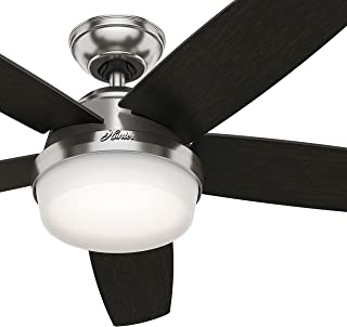 Hunter Fan 54in Contemporary Ceiling Fan in Brushed Nickel with Cased White LED Light Kit and Remote (Renewed)