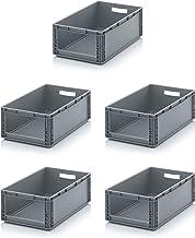 5x Auer Euro Sichtlagerkasten 60 x 40 x 22 cm inkl. gratis Zollstock * Eurobehälter mit Fenster, 5er Set