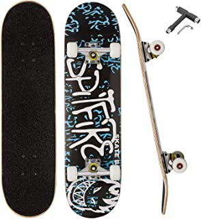 QLGM Skateboard 31 Inch Complete Standard Skateboard 7 Layer Maple Skateboard Deck with Sports Outdoors Durable Skate Boar...