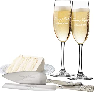 Custom Engraved Toasting Flutes with Cake Server Set - Personalized Wedding Champagne Flute and Cake Serving Gift