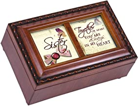 Cottage Garden Sister Ribbon Woodgrain Petite Music Box Plays That's What Friends are for