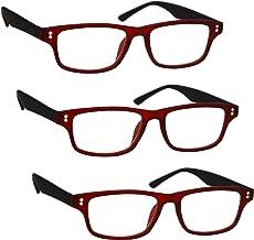 UV Reader Gommato Rosso Nero Occhiali Da Lettura Valore 2 Pacco Uomo Donna UVR2PK033 Diottria 1,00