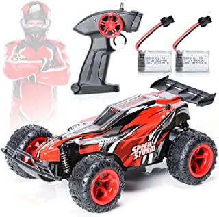 EXERCISE N PLAY Remote Control Car, 2.4Ghz 1:22 High Speed Racing Car with Four Batteries( TwoRechargeable Lithium-ion Batteries for car,Two 1.5AA Batteries for Transmitter), Kids Toys, Red