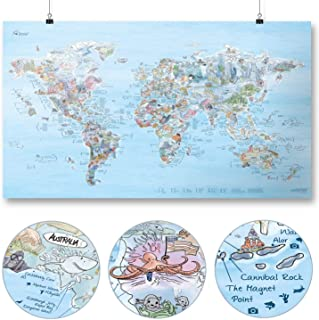 Dive Map by Awesome Maps - Illustrated World Map for Diving Fans - rewritable - 97.5 x 56 cm