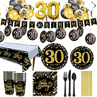Trgowaul 30th Birthday Party Supplies - Black and Gold Disposable Paper Plates, Napkins, Cups, Tablecloth Forks, Knives an...