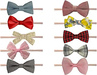 K&J Handmade fancy Hair bows with soft and stretchy Nylon headbands for Newborn baby girls, Baby Girls, Infants, toddlers ...