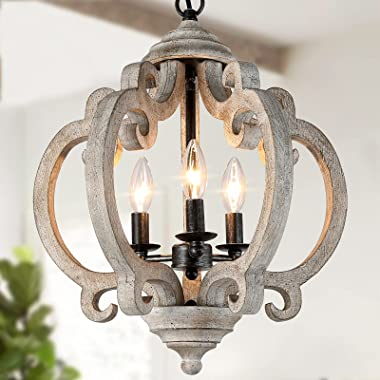 Farmhouse Chandelier for Dining Room, Wood Chandelier Light Fixture for Foyer, 15.5'' Dia