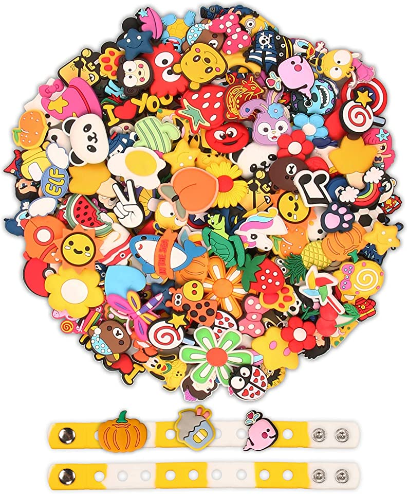 100pcs Charms for Crocs with 2pcs Silicone Hand Straps, No Duplicate Cute Cartoon Pins Shoe Charms for Croc