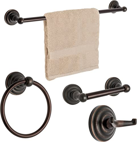 """Dynasty Hardware 3800-ORB-4PC Palisades Series Bathroom Hardware Set, Oil Rubbed Bronze, 4-Piece Set, With 24"""" Towel Bar"""