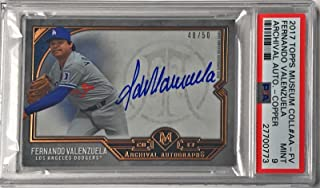 2017 Topps Museum Collection Fernando Valenzuela Copper Auto 48/50 9 MINT - PSA/DNA Certified - Baseball Slabbed Autographed Cards