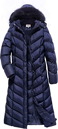 229e171f564a0 ELORA Women s Maxi Puffer Full Length Coat with Fur Trim Removable Hood