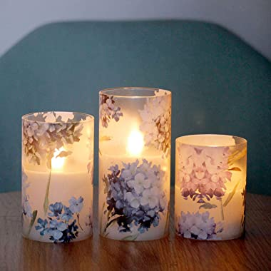 SILVERSTRO LED Candles Blinks with 6H Timer, Love Theme Flameless Candles, Hydrangea Series Battery Operated Candles for Home
