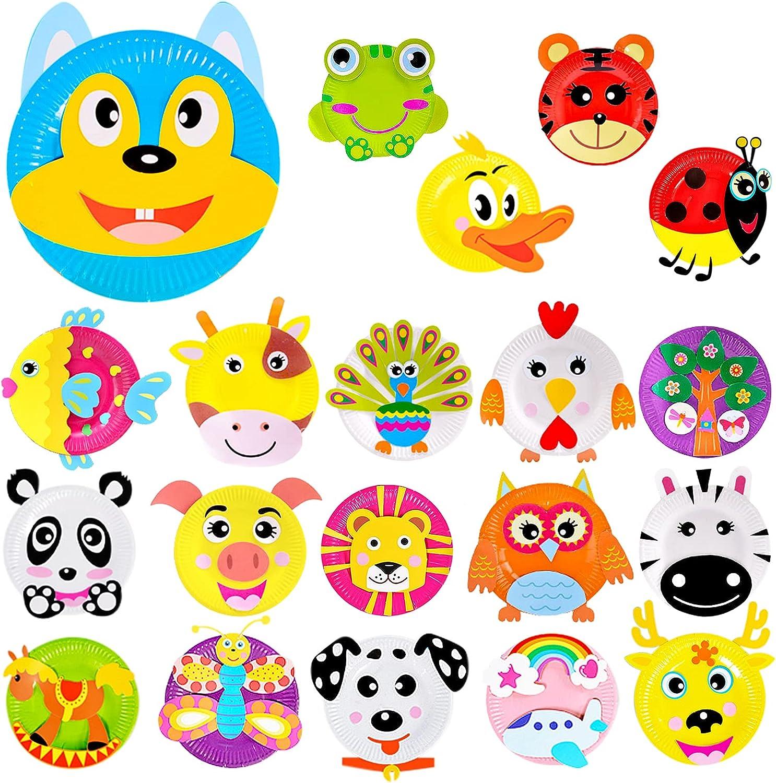 Attmu 20 Pack Paper Plate Art shopping Award-winning store Kit Kids Toddler for Crafts Ar DIY