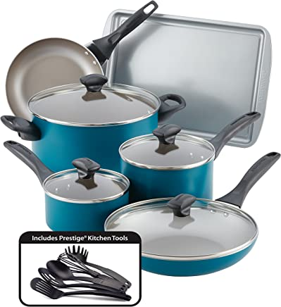Farberware Dishwasher Safe Nonstick Cookware Set, Teal, 15-Piece