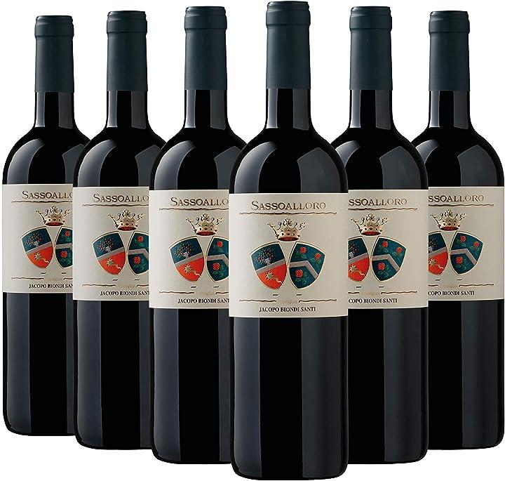 Vino toscana igt sassoalloro jacopo biondi santi 2018 6 bottiglie da 0,75 l B08MTRG9N2
