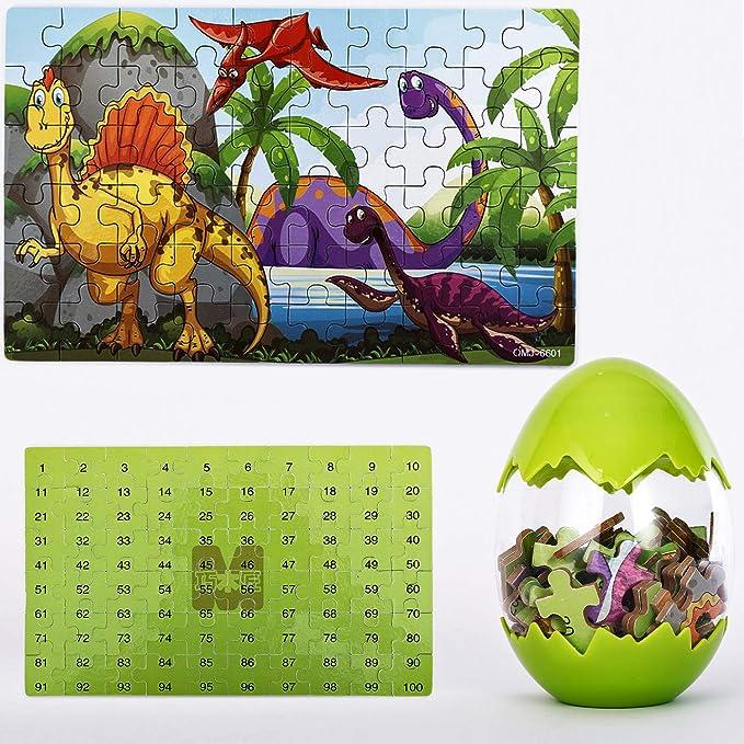 Details about  /60 Pcs Wooden Dinosaur Puzzle Cartoon Type Educational Egg Shape Toys Play Kids