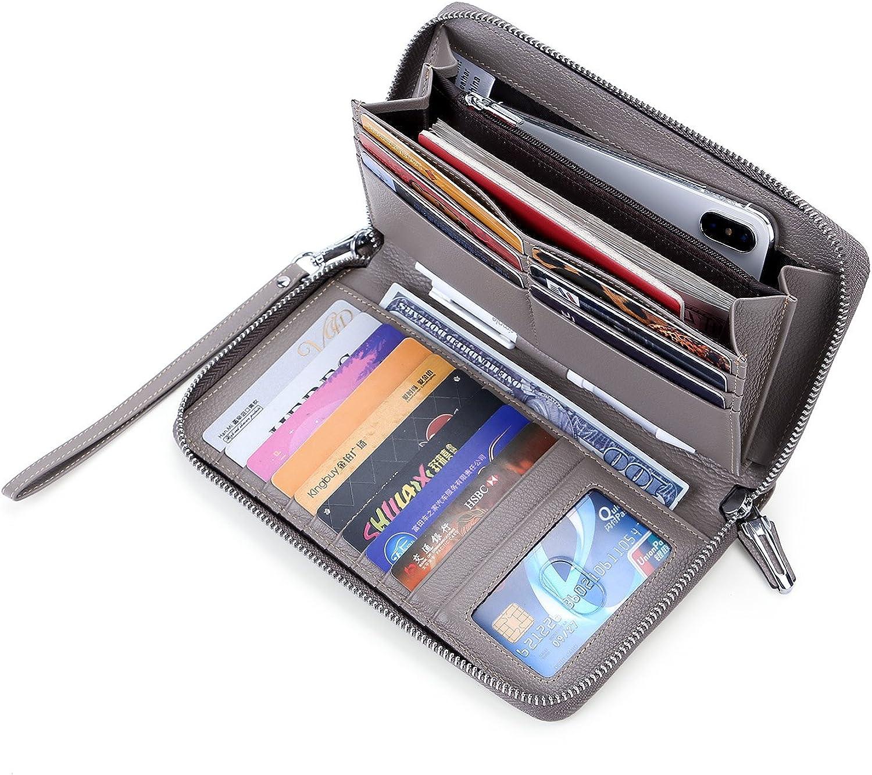 Anvesino Women's RFID Blocking Wallet Real Leather Zip Around Clutch Large Travel Purse Wrist Strap