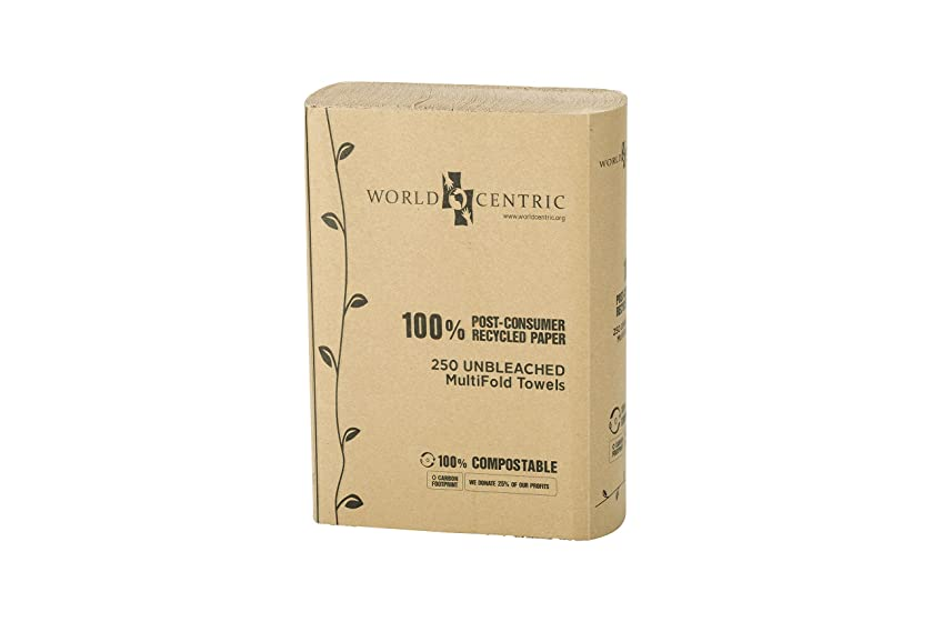 World Centric TW-PA-MF Compostable 100% Post Consumer Recycled Paper Unbleached Multifold Towels, 1-ply (16 Packs of 250)