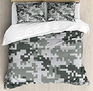 Ambesonne Camo Duvet Cover Set, Digital Pixel Effect Modern Design Conceptual Commando Inspired Grey Toned, Decorative 3 Piece Bedding Set with 2 Pillow Shams, Queen Size, Pale Grey