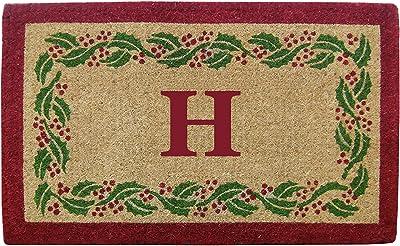 "Heavy Duty 22"" x 36"" Coco Mat Holly Ivy Border, Monogrammed H"