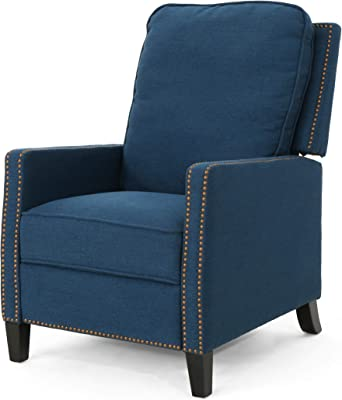 Christopher Knight Home Armstrong Recliner, Navy Blue + Dark Brown
