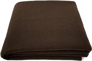 EKTOS 80% Wool Blanket, Brown, Light & Warm 3.7 lbs, Large Washable 66