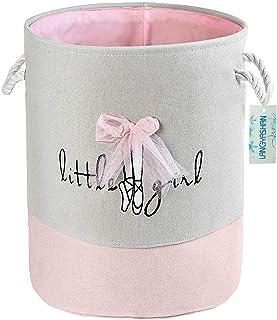 FUNNYGO Storage Bin,Cotton Collapsible Pink Organizer Basket for girls Laundry HamperToy BinsGift Baskets Bedroom ClothesB...