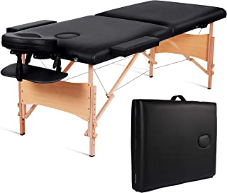 MaxKare Folding Massage Table Portable Facial SPA Professional Massage Bed With Carrying Bag 2 Fold Lash Bed with Head-& Armrest. (Black)
