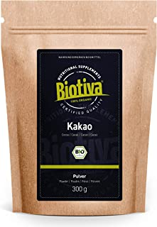 Kakao Pulver Bio 300g - 100% reines Kakaopulver stark entölt 11% Fett - ohne Zucker - ohne Zusatzstoffe - hochwertigste Biotiva Qualität - Abgefüllt und kontrolliert in Deutschland DE-ÖKO-005