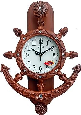 Oreva Plastic Pendulum Wall Clock (42.5 cm x 30.5 cm x 7.0 cm, Brown, AQ-2327)