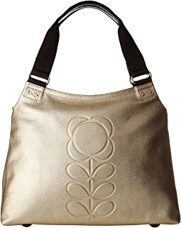 Orla Kiely - Embossed Flower Stem Leather Classic Zip Shoulder
